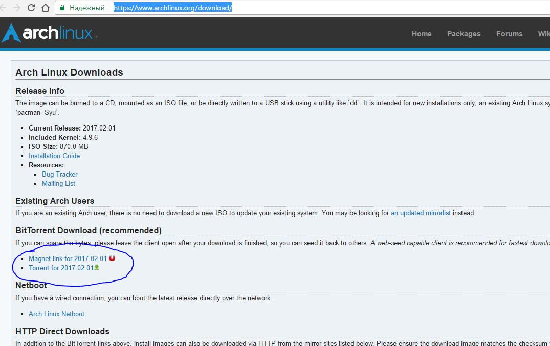 Ссылки на скачивание Arch Linux