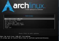 Меню загрузчика Arch Linux